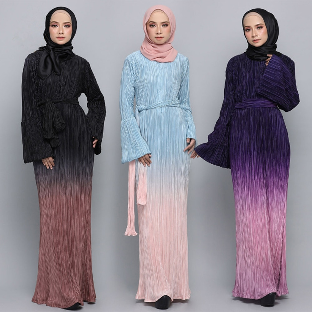 Dubai Abaya vestido largo plisado musulmán para mujeres Kaftan turco manga acampanada Maxi vestido de fiesta árabe Jilbab Robe UAE ropa islámica
