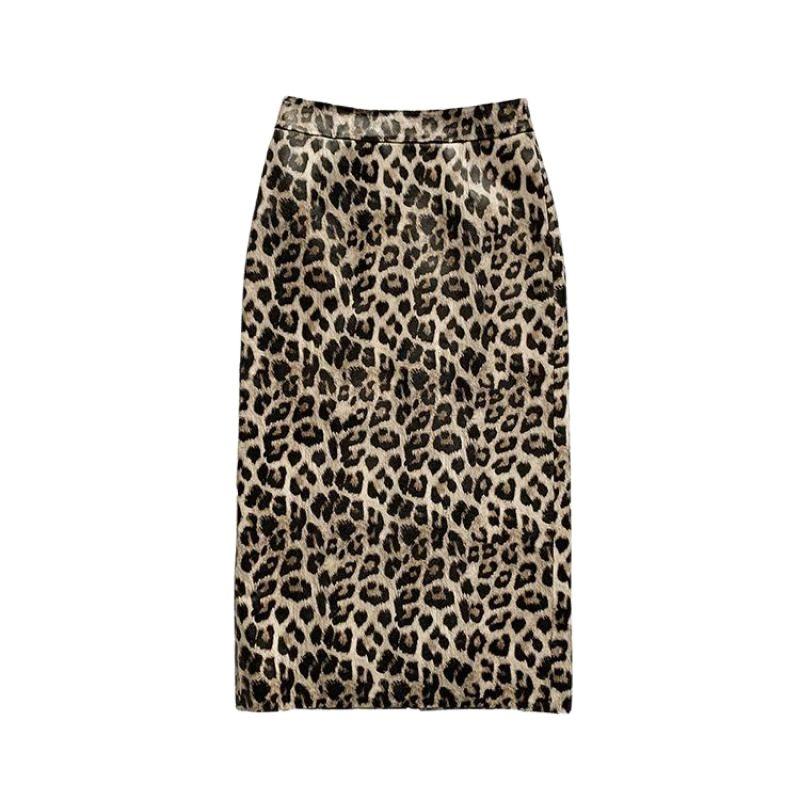 Spring Autumn Real Genuine Leather Skirt Sheepskin High Waist Midi Wrap Skirts Women Leopard Bodycon Vintage Sexy Party Clothes