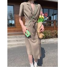 CMAZ Summer Dress Sexy Long Dress With Belt 2021 Women Bohemian Notched Sundress Party Office Cotton