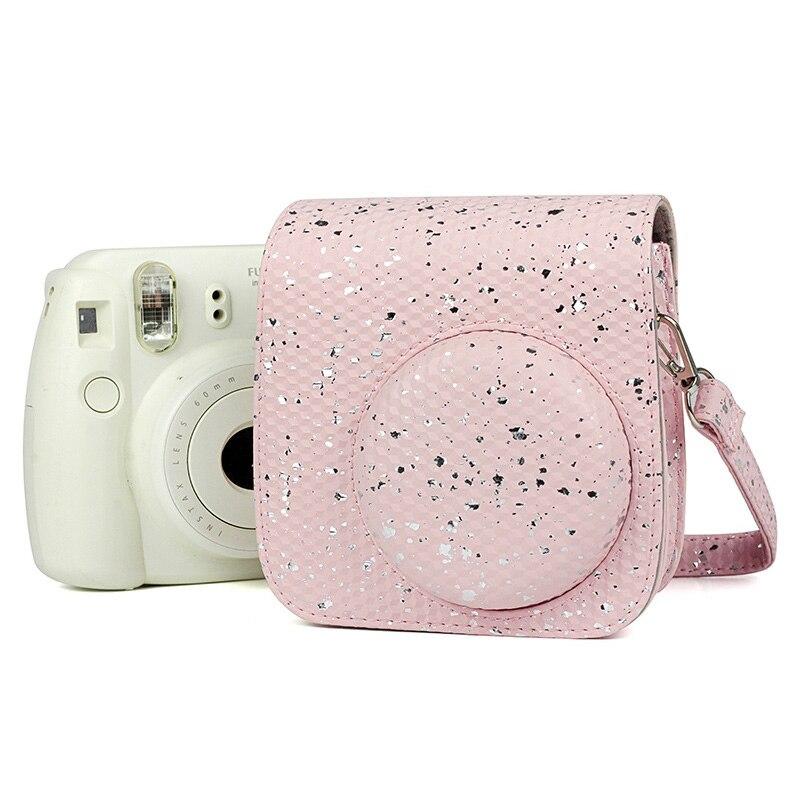 Fujifilm Instax Mini 9 Mini 8 Instant Film Camera Case Accesory Honeycomb Glitter Shoulder Strap Bag Protector Cover Case Pouch
