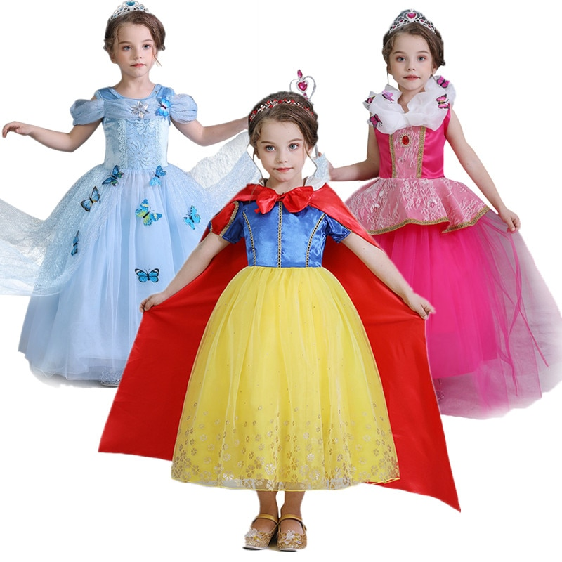 elsa gril kids fall outfits pyjama enfant anna princess birthday party roupas infantis menina halloween cosplay children clothes Enfant Baby kids Clothes For Halloween Party Cosplay Costumes Girl Snow Princess Dress Fancy Outfits Family New Year Masquerade