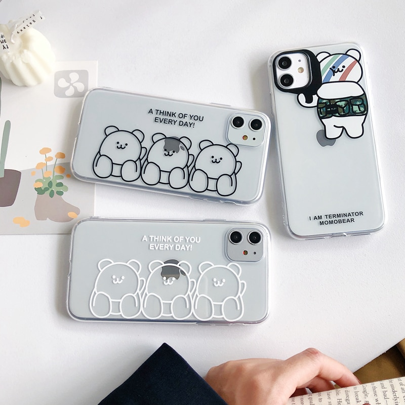 Una de cada día transparente oso caja del teléfono para iPhone 11 X XS X Max Xr 8 7 11 Pro Max osos claro suave cubierta Coque