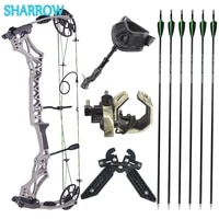 30 70lbs compound bow and arrow set adjustable ibo 320fps with carbon arrows for outdoor archery hunting shooting accessories