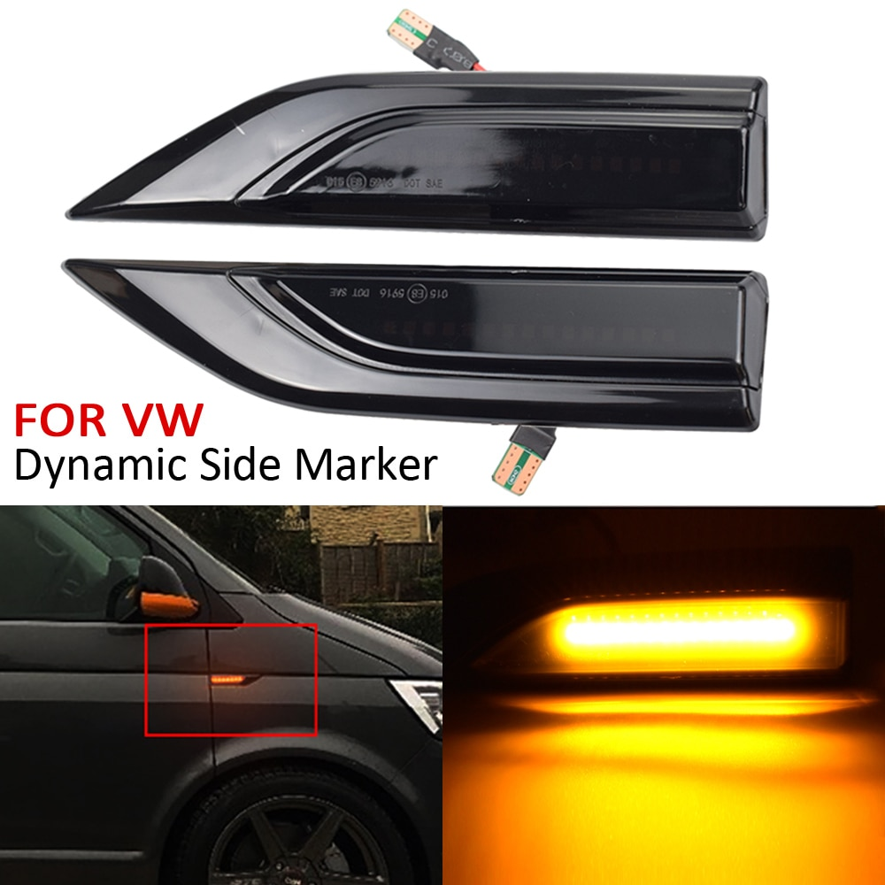 2pcs Dynamic LED Side Marker Lights 12V Flowing Turn Signal Light Side Repeater Lamp Panel Lamp For VW Multivan T6 2016-2019