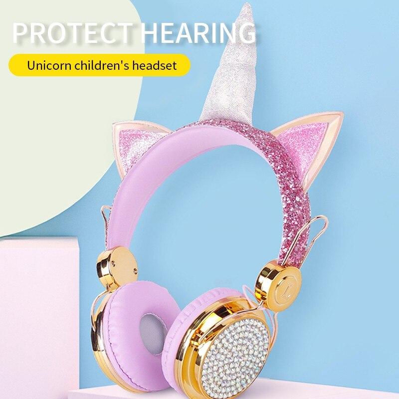 Sem fio bluetooth 5.0 fones de ouvido sobre a orelha fones de ouvido estéreo com mircofone meninas crianças dos miúdos das meninas das mulheres
