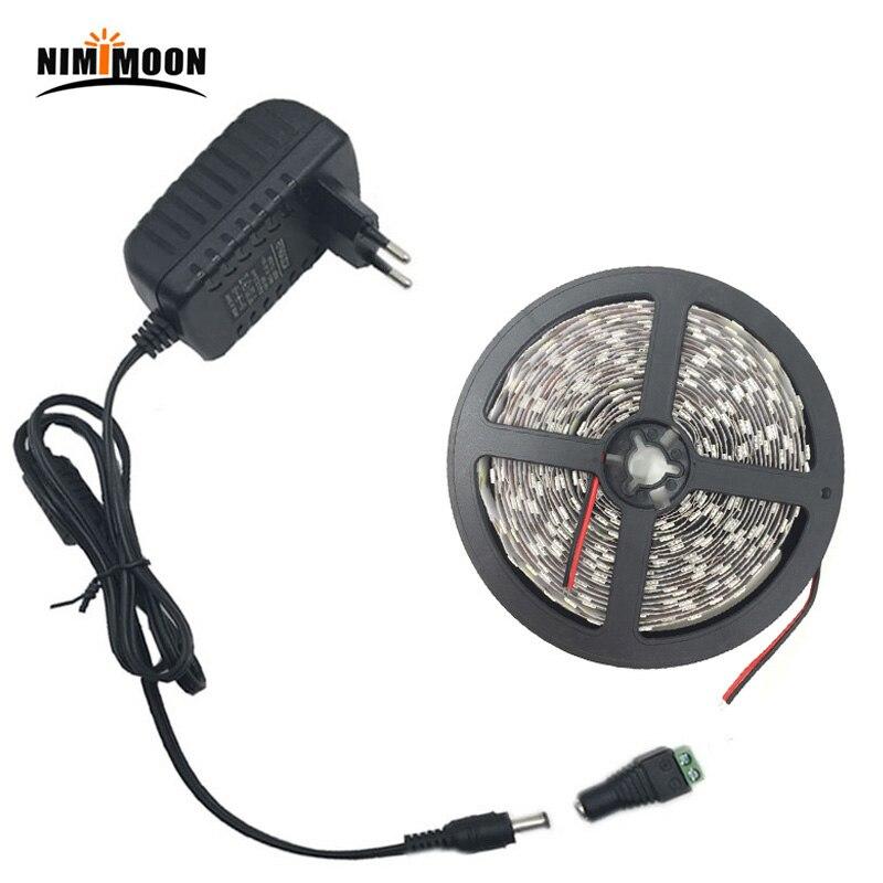 5M 5050 blanc chaud Whute RGB LED bande lumière étanche pas étanche 10M 15M ruban led bande à distance DC12V adaptateur secteur