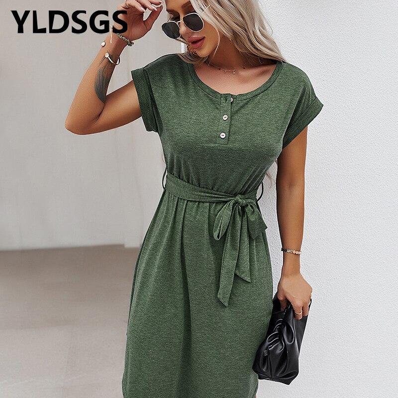 Summer Spring Vintage Dress Women V Neck Short Sleeve Solid Dresses Sexy Asymmetric Hem Long