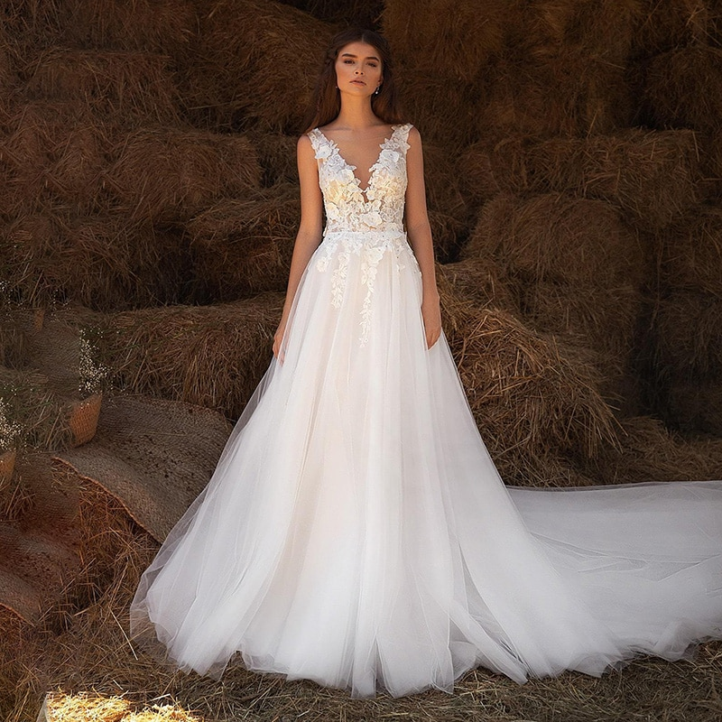 Get V neck Wedding dress For Women 2021 A line Sleeveless Lace Applique Bridal Gown Tulle Sweep Train Custom Bride Dresses
