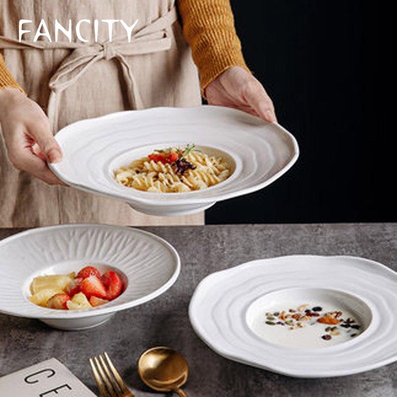 FANCITY بسيط الأبيض لوحة سيراميك قبعة القش لوحة تحلق الصحن لوحة المعكرونة لوحة النمط الغربي حساء لوحة مطعم فندق