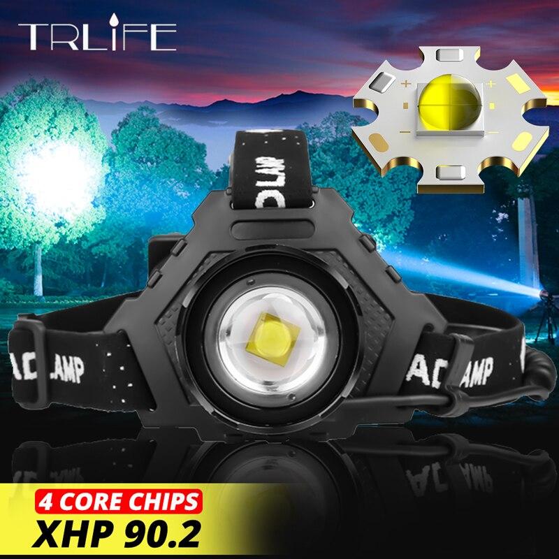 Faro delantero LED XHP90.2 de 7000LM, la más potente lámpara frontal USB de 32W 18650, batería externa con Zoom de 7800 mAh, luz para senderismo y pesca, Zoom XHP70