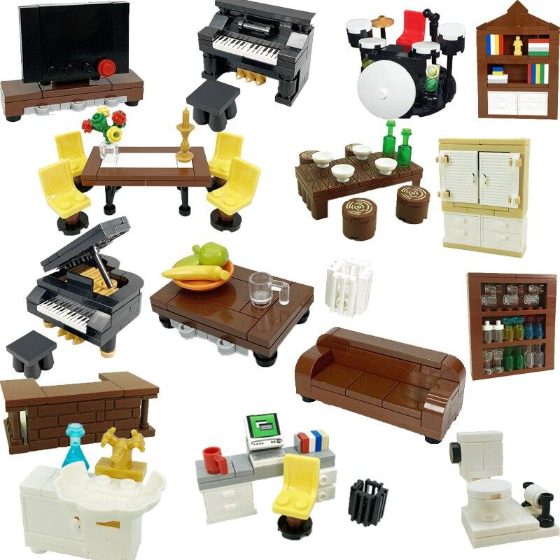 Строительные блоки, совместимые с City MOC, детали для дома, мебель, кухонные аксессуары, детские игрушки «сделай сам» кровать, диван, компьютер ...