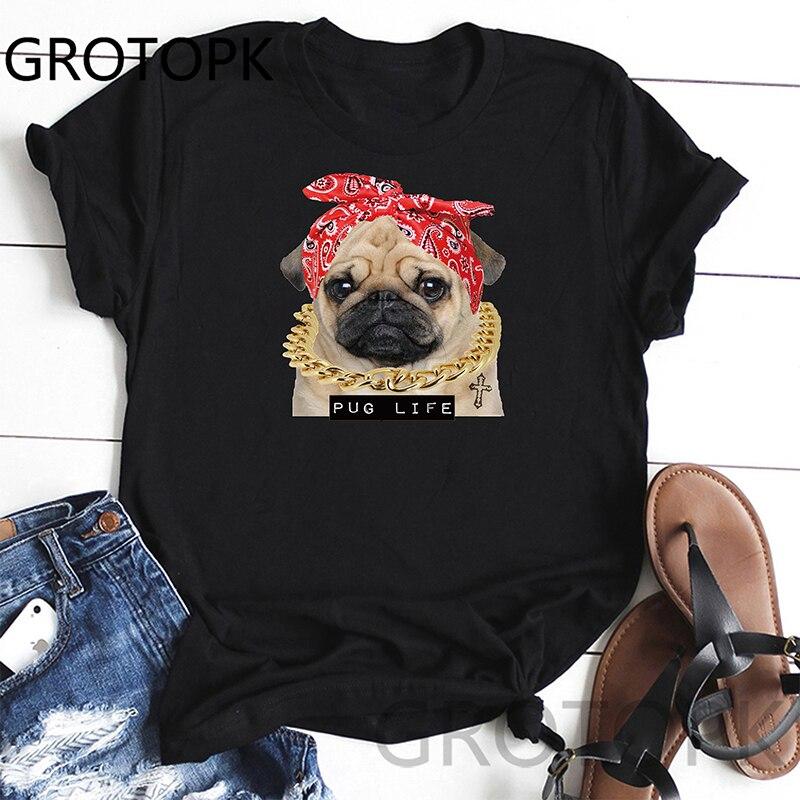 Camiseta divertida de Pug para mujer, camiseta gráfica Vintage para mujer, camiseta informal novedosa para mujer, ropa para mujer