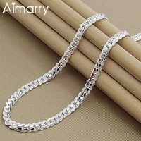 aimarry 925 sterling silver 5mm full sideways chain necklace for women men charm christmas gifts wedding fashion jewelry