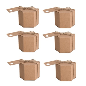 50Pcs Kraft Paper Candy Box, Hexagonal Carton Candy Box Gift Box, with Twine and Tag, Wedding Party Supplies