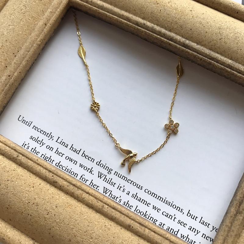 S925 silver Korean Korean version trendy temperament golden swallow flower personality necklace necklace female