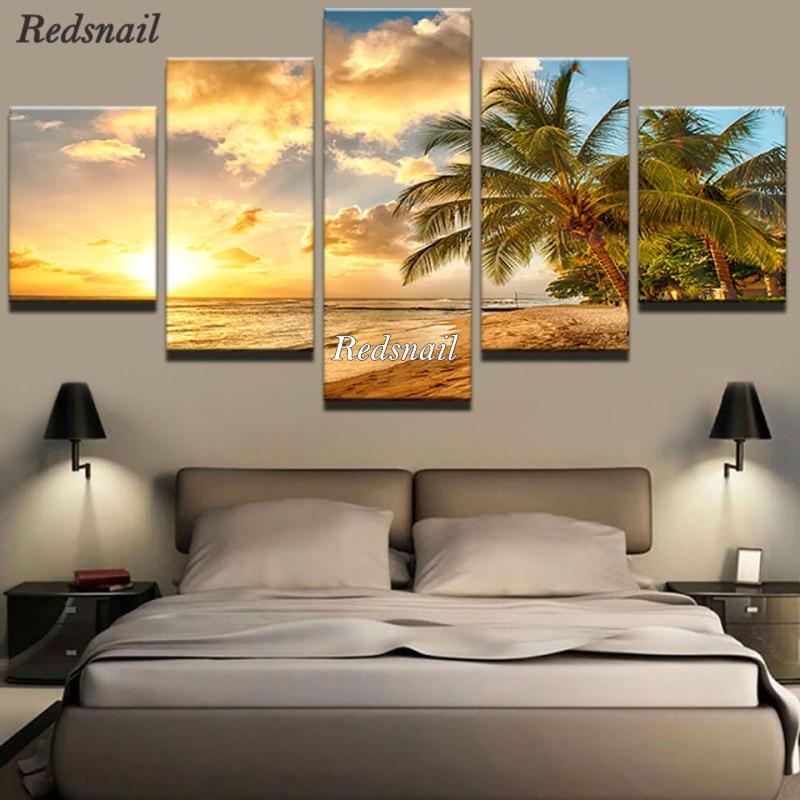 DIY pintura de diamante 5 paneles palmeras mar atardecer paisaje 5D taladro completo mosaico artesanía de bordado de diamante Kit de decoración ML1025