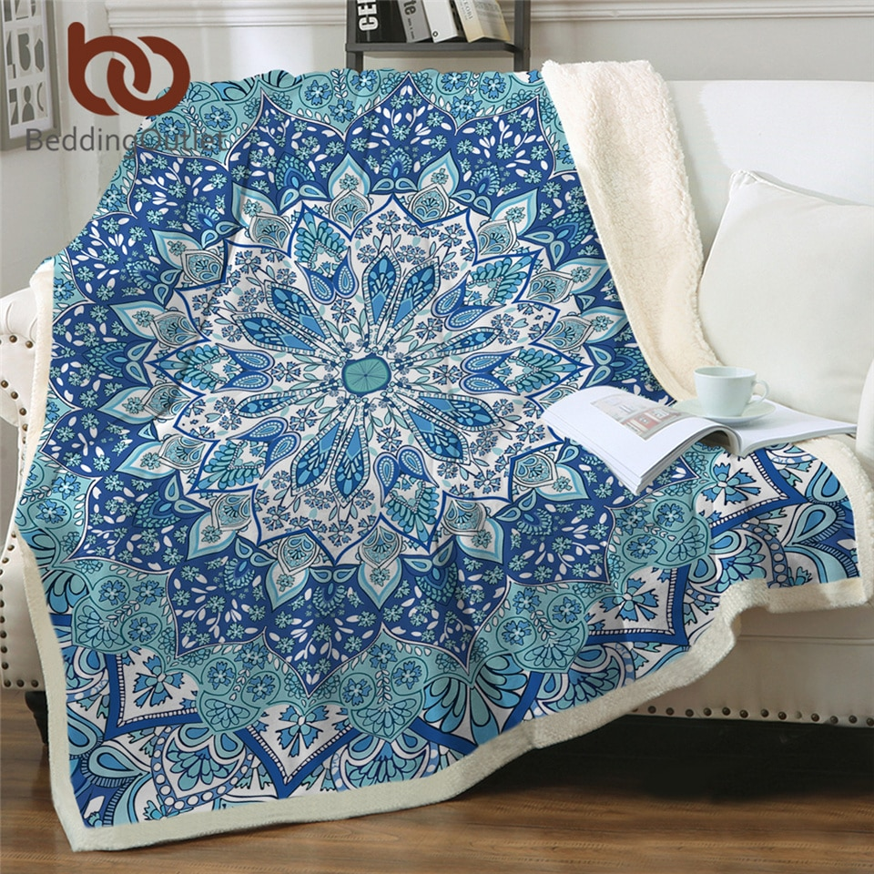 BeddingOutlet-بطانية على الطراز البوهيمي بنمط بيزلي زهري ، مفرش سرير رقيق ، أزرق سماوي ، ماندالا ، 130 × 150 سنتيمتر ، صوف