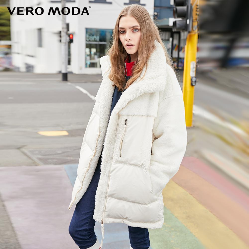 Vero Moda Women's Splicing Furry Fabric Mid-length White Duck Down Jacket   319423518
