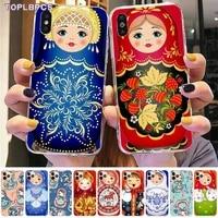 toplbpcs cute russian dolls matryoshka diy phone case cover shell for iphone 8 7 6 6s plus x 5s se 2020 xr 11 pro xs max