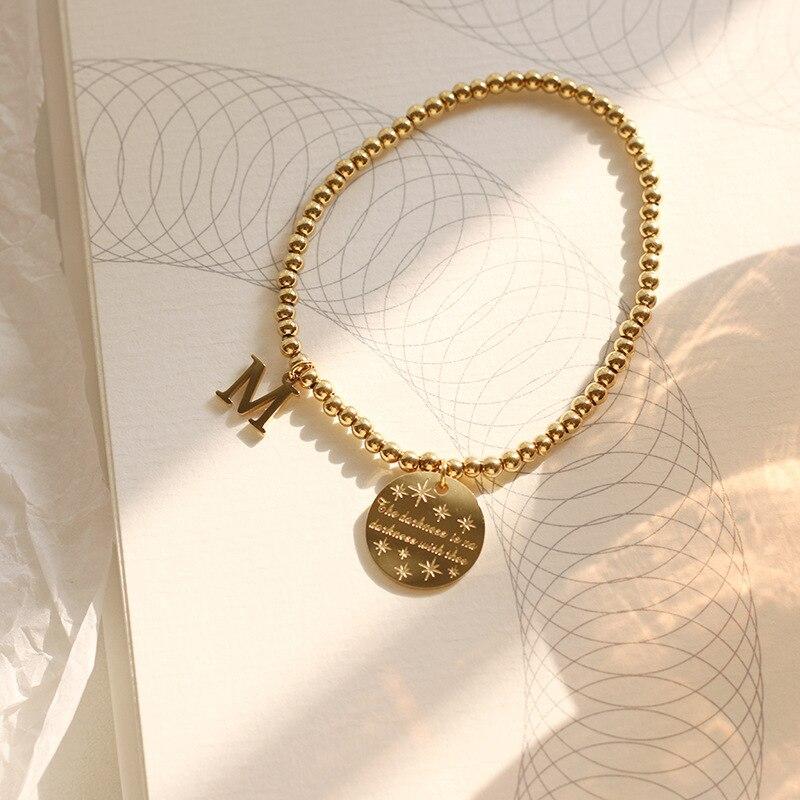 Turnish aço inoxidável 14k banhado a ouro estrela gravado m carta charme contas pulseiras de corrente pulseiras para menina pulseira feminina