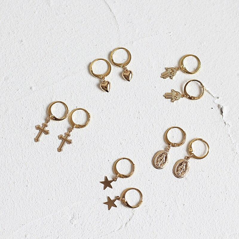 Pendientes bohemios pequeños de corazón Huggie Mini Piercing de oreja Huggies pendientes para mujeres