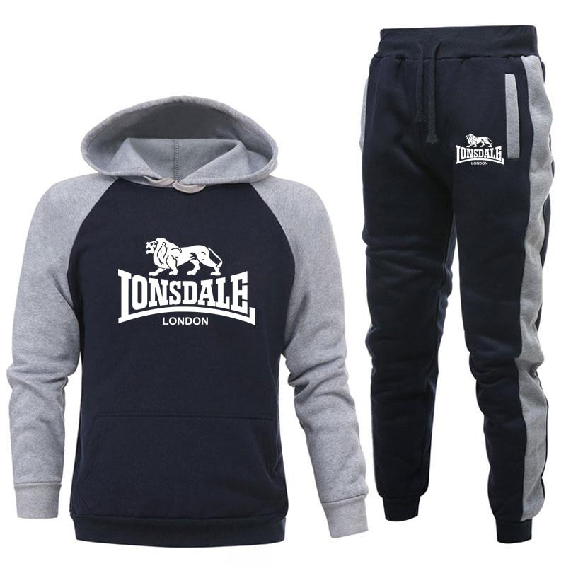 Fashion trends LONSDALE Print Men Hoodies Suits Brand Tracksuit Hip Hop Sweatshirts+Sweatpants Autumn Winter Hooded Pullover