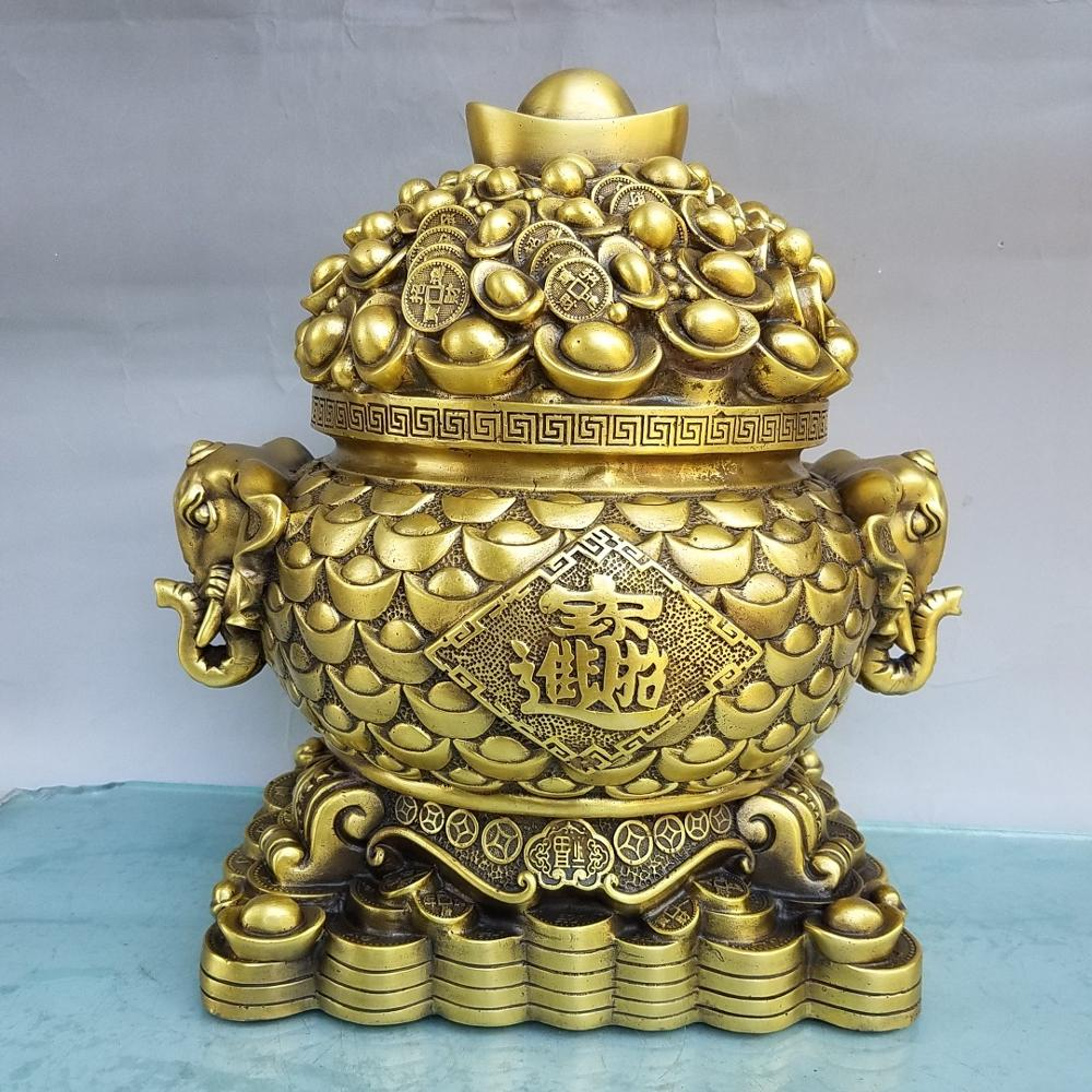 Decoración de boda estatua China Seikos latón elefante oreja ahorrar dinero cornucopia elefante cabeza estatua simboliza buena fortuna