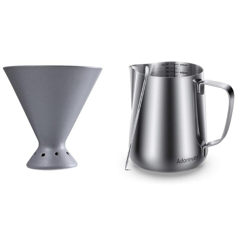 900 مللي يده مبيض القهوة إبريق إزباد اللبن إبريق كوب مع V60 بالتنقيط السيراميك كوب فلتر القهوة تقاسم وعاء
