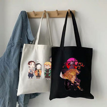 Japanese Demon Slayer Anime Canvas Bag Casual Cartoon Letter Print Hip Hop Large Capacity Fashion Pu