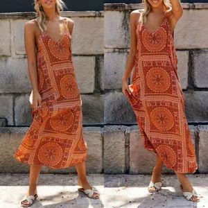 Long Dress Summer Women Boho Printed Maxi Dress Lady Vintage Party Beach Dress Casual Summer Dress Boho Style V-neck Sleeveless
