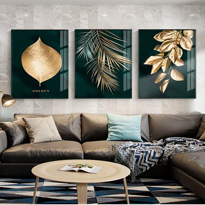 Lienzo de hoja de oro, pintura abstracta, póster de arte de pared e imágenes decorativas impresas para sala de estar, Cuadros nórdicos, decoración del hogar