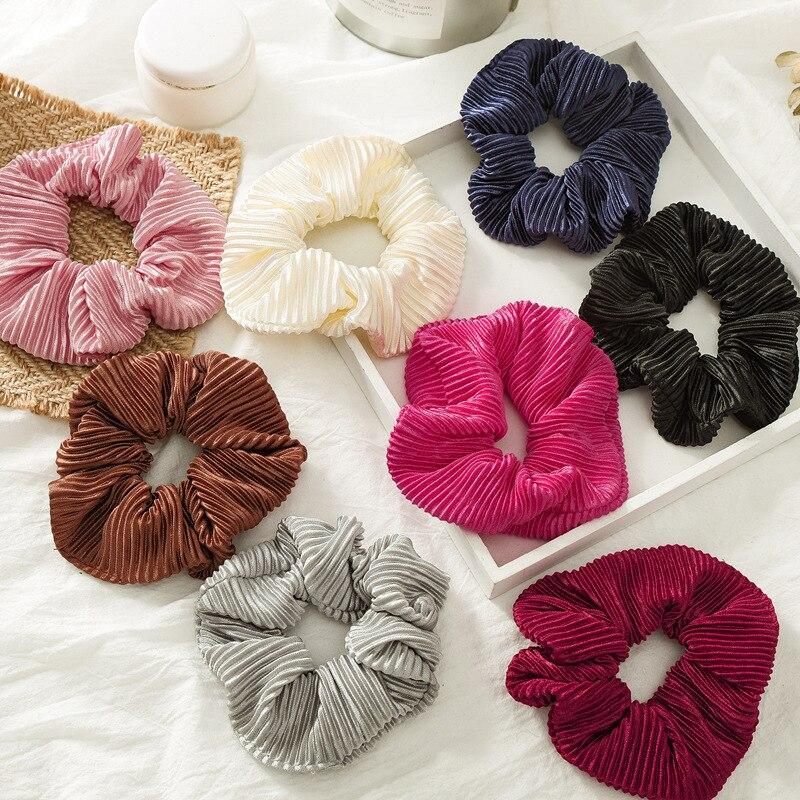 Elásticos para o cabelo, faixas de cabelo adoráveis de cetim, acessórios de cabelo, rabo de cavalo, brilhante, rosa