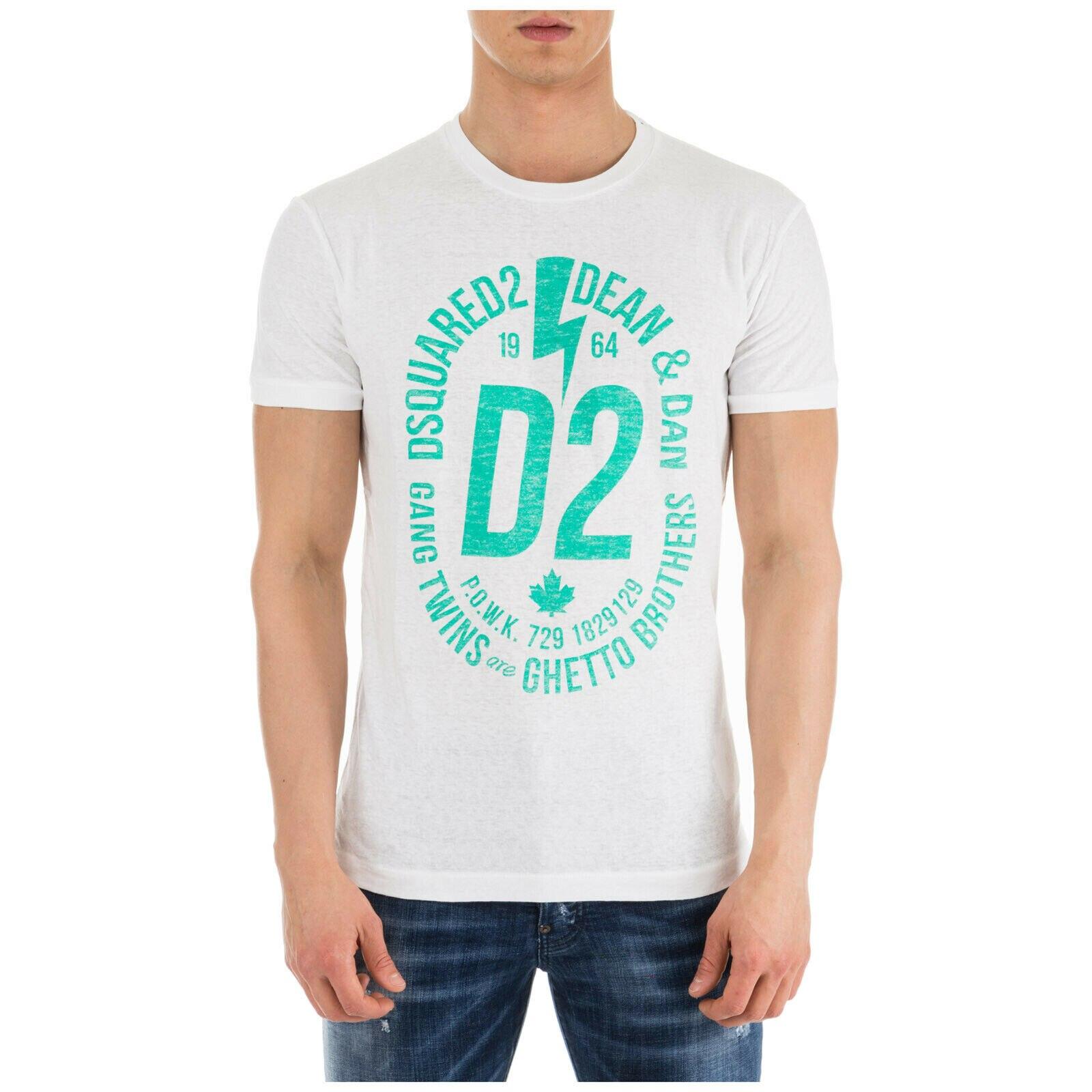 New Dsq2 MenS Short Sleeve T-Shirt Crew Neckline Jumper New White Printed Tee Unisex Size S-3Xl