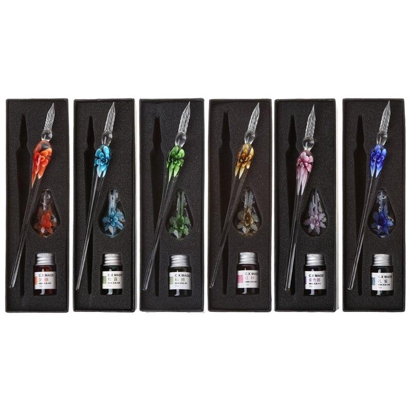 Vintage hecho a mano arte elegante cristal Floral vidrio Dip pluma para firmar con tinta bolígrafos regalo
