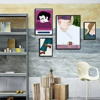 modern style canvas painting poster cartoon drawing pictures parts of man and woman head earpieces for home rooms wall decoratio