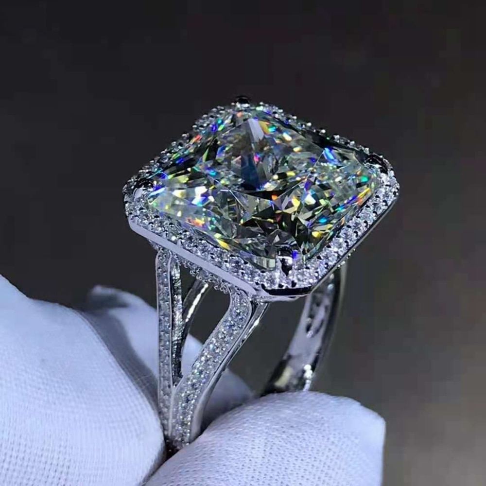 Wong Rain 925 Sterling Silver 8 CT Princess Cut D Created Moissanite Diamonds Engagement Women Ring Customized Ring Fine Jewelry