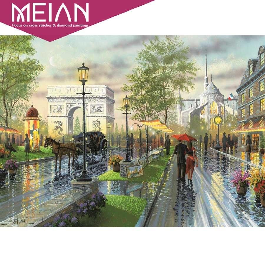 MEIAN 5D алмазная картина для улицы, Новое поступление, алмазная вышивка DIY, для дождливого дня, абстрактная Ландшафтная мозаика с бриллиантами
