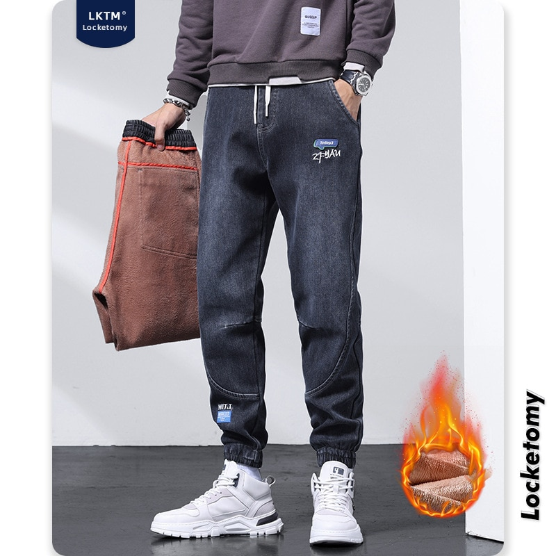 Мужские джинсы, мужские зимние новые стильные плюшевые толстые теплые свободные повседневные брюки с широкими штанинами, джинсы стандартн...