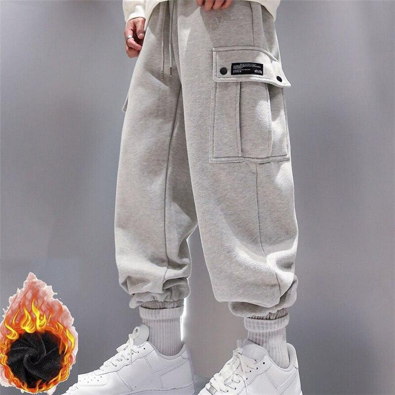Новое поступление, модные мужские спортивные брюки, зимние свободные брюки для улицы, мужские теплые удобные спортивные брюки с карманами д...