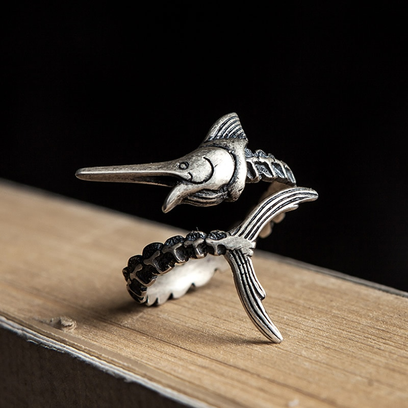 Genuino 925 plata esterlina hombre viejo y mar Vintage Simple anillos abiertos...