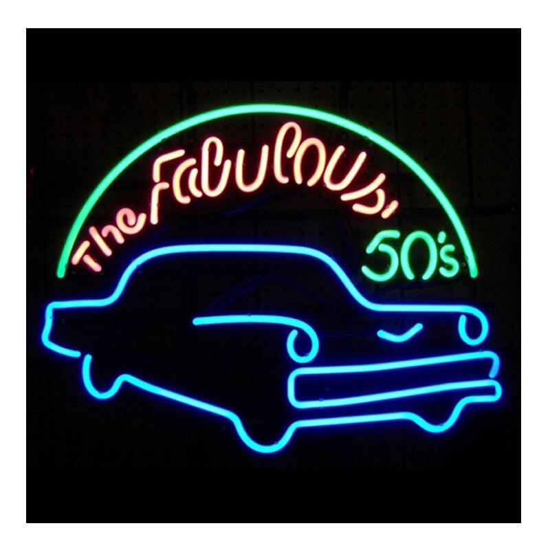 علامة نيون رائعة في 50S للرجال ، علامة متجر أنابيب زجاجية مصنوعة يدويًا ، إعلان عن الشركة ، زخرفة المرآب ، علامة نيون 17X14