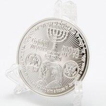 Moneda chapada en plata Donald Trump, moneda de recuerdo del rey Cyrus, templo judío de Jerusalén, Israel, envío directo