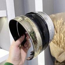 Serre-tête serre-tête latérale pour femmes   Bandeau à la mode, accessoires pour cheveux, faux cuir PU serpent, panneau lumineux