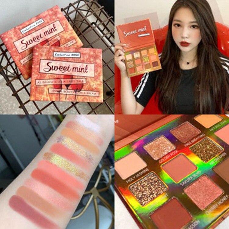 Makeup Sweet Mint 12 Color Love Rose Eyeshadow Compact Potato Mash Pearly Lustre Shimmering Powder Onion Powder Eye Shadow