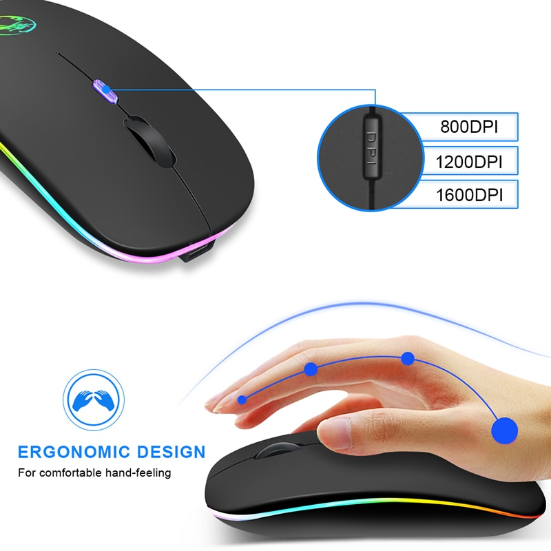 Wireless Mouse Bluetooth RGB Mouse Rechargeable Computer Mause Silent Ergonomic LED Mice USB optical Backlit Mouse for laptop PC enlarge