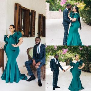 Hunter Green African Mermaid Evening Dresses Plus Size Short Sleeve Ruffles Prom Dress Floor Length Cheap Formal Evening Gowns
