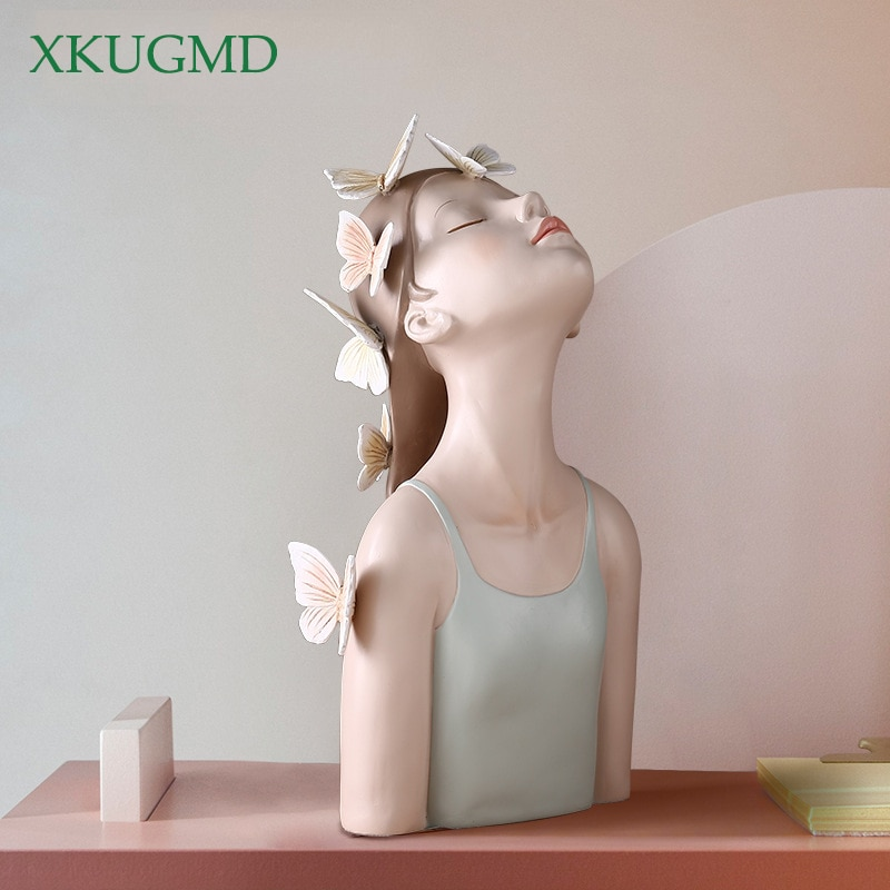 Adornos creativos modernos de resina con diseño de mariposa y chica para decoración corporal para sala de estar decoración del hogar