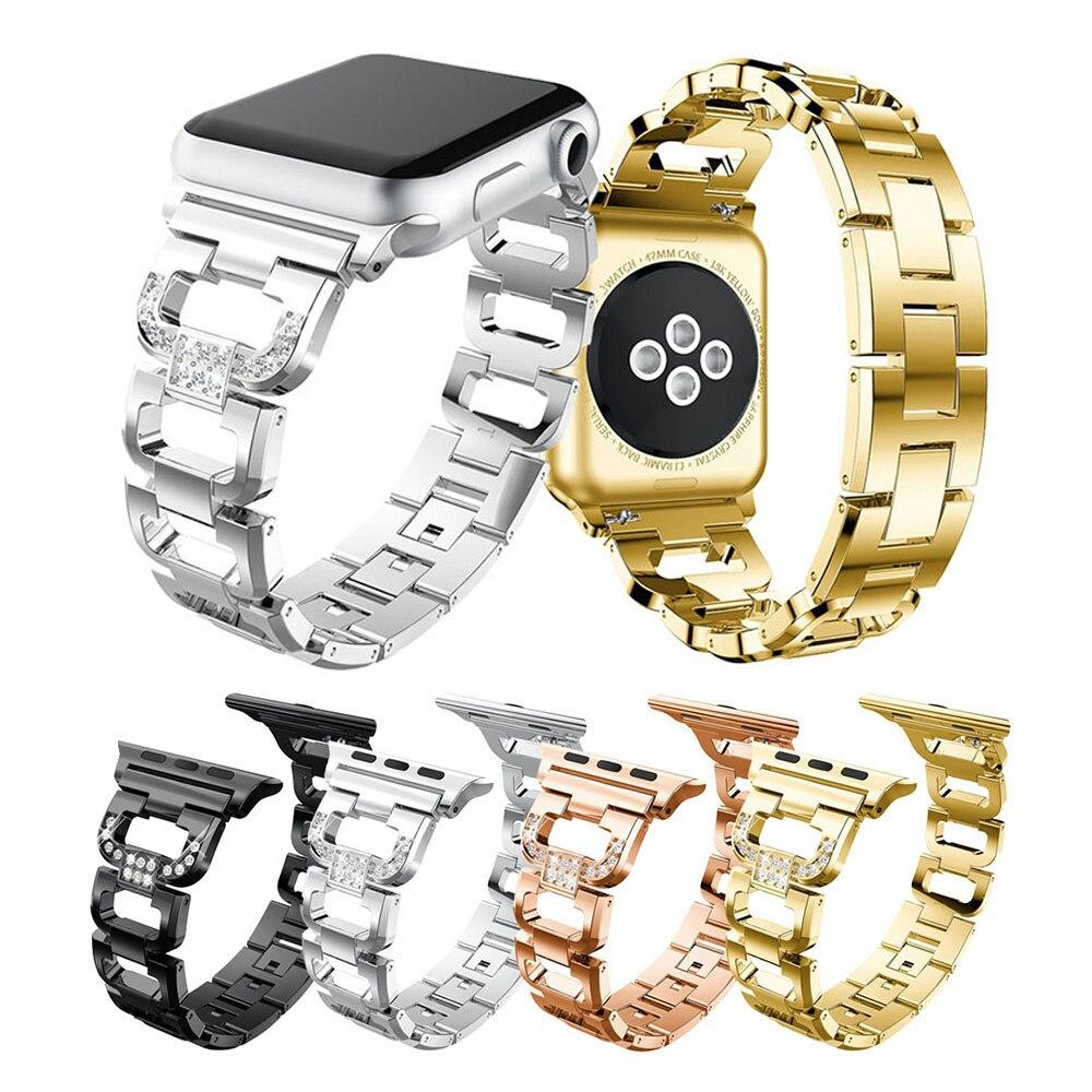 Pulseira de aço inoxidável para apple watch band 38mm 42mm strass diamante série 5 4 3 2 1 para apple relógio 44mm 40mm pulseiras
