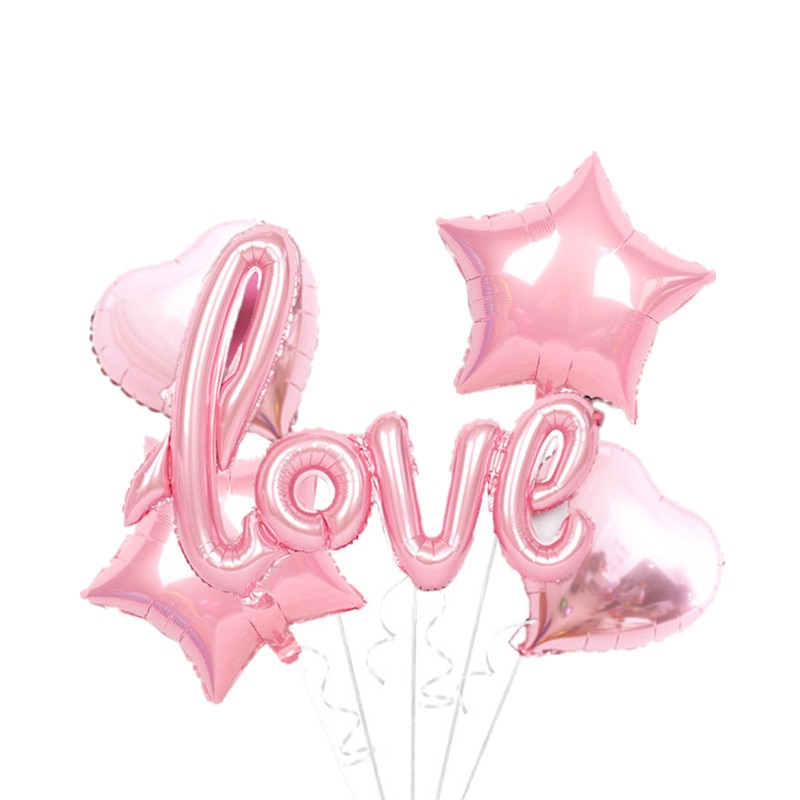 5pcs Love Siamese Letters Love Star Combination Set Aluminum Film Balloon Wedding Proposal Party Party Decoration