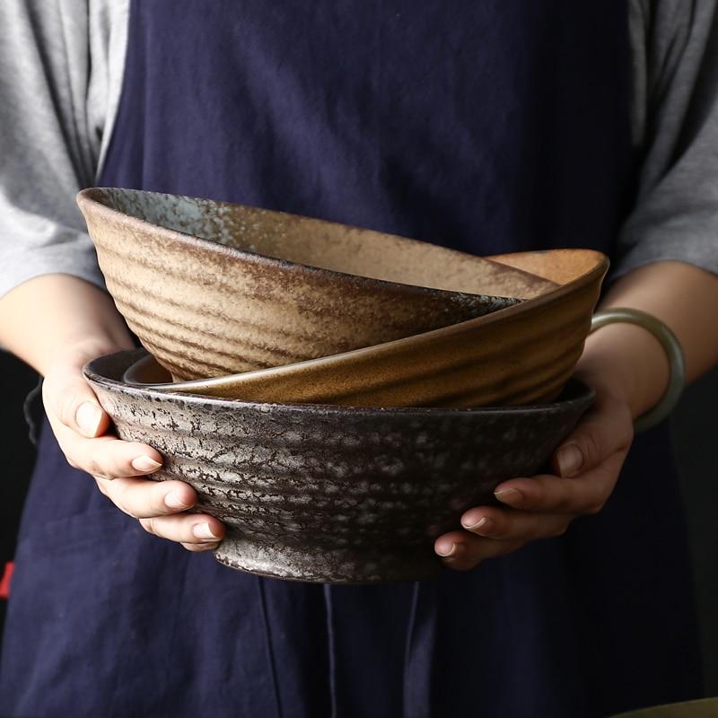 FANCITY الرجعية طبق للنودلز الحجري السلطانية أدوات المائدة طبق سيراميك المنزلية كبيرة رامين السلطانية قبعة